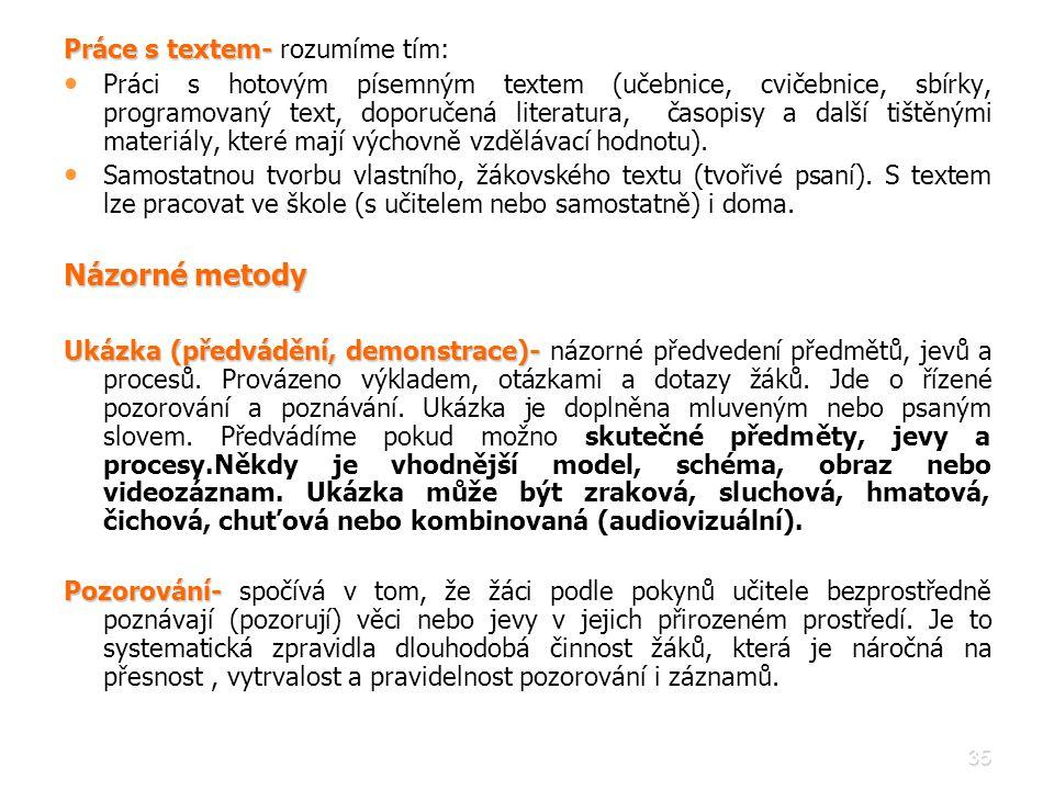 Názorné metody Práce s textem- rozumíme tím: