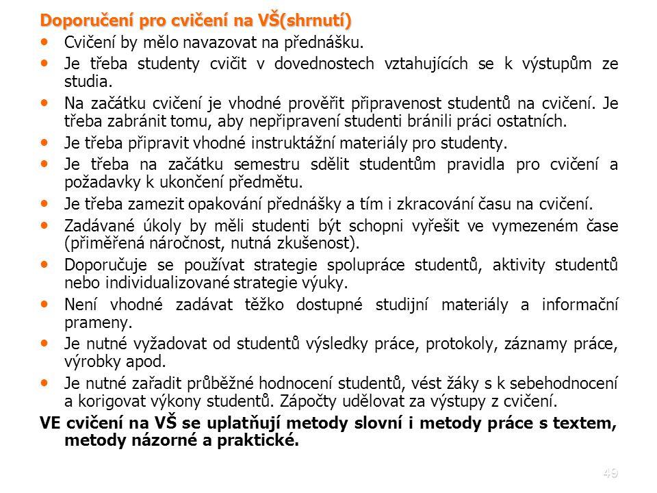 Doporučení pro cvičení na VŠ(shrnutí)