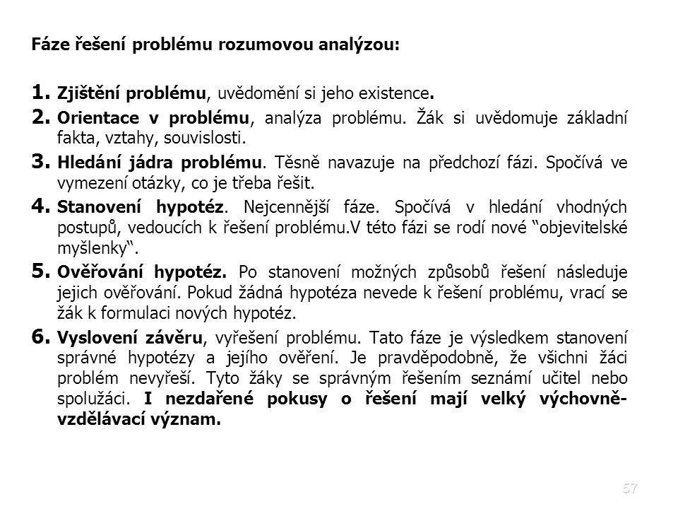 Fáze řešení problému rozumovou analýzou:
