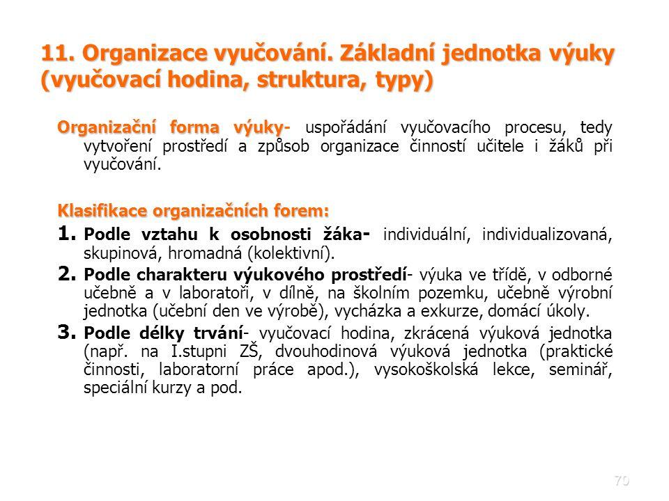 11. Organizace vyučování. Základní jednotka výuky (vyučovací hodina, struktura, typy)