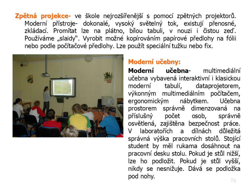 Zpětná projekce- ve škole nejrozšířenější s pomocí zpětných projektorů