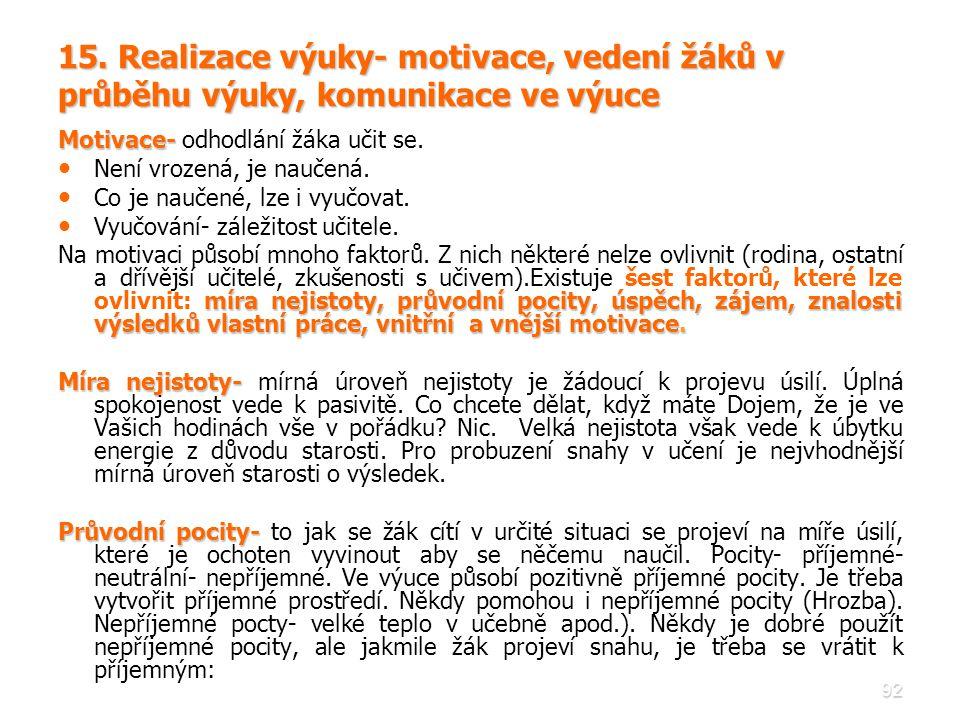 15. Realizace výuky- motivace, vedení žáků v průběhu výuky, komunikace ve výuce
