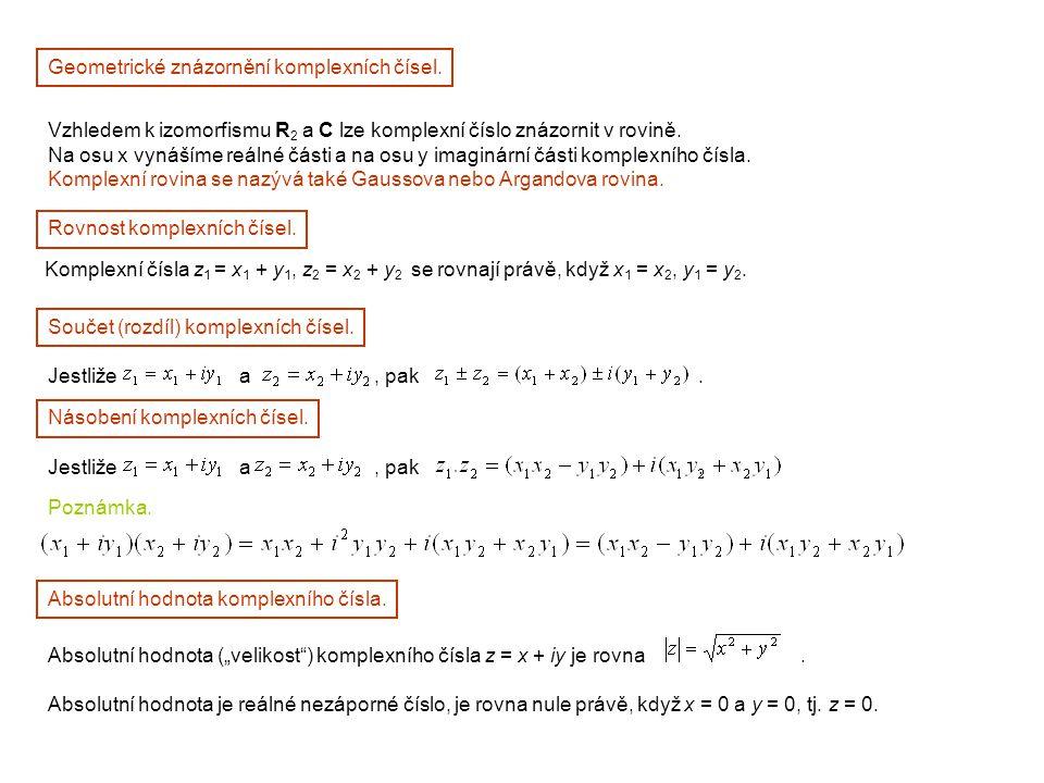 Geometrické znázornění komplexních čísel.