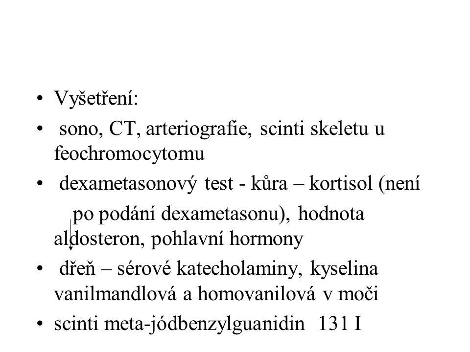 Vyšetření: sono, CT, arteriografie, scinti skeletu u feochromocytomu. dexametasonový test - kůra – kortisol (není.