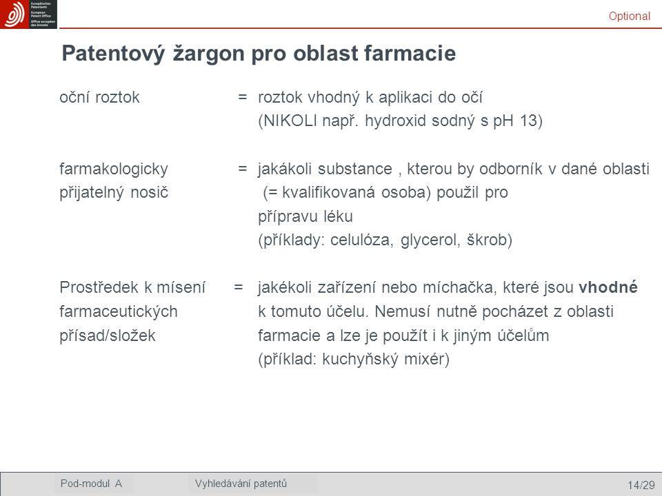 Patentový žargon pro oblast farmacie