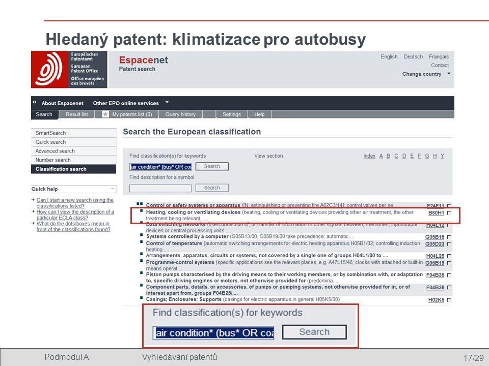Hledaný patent: klimatizace pro autobusy