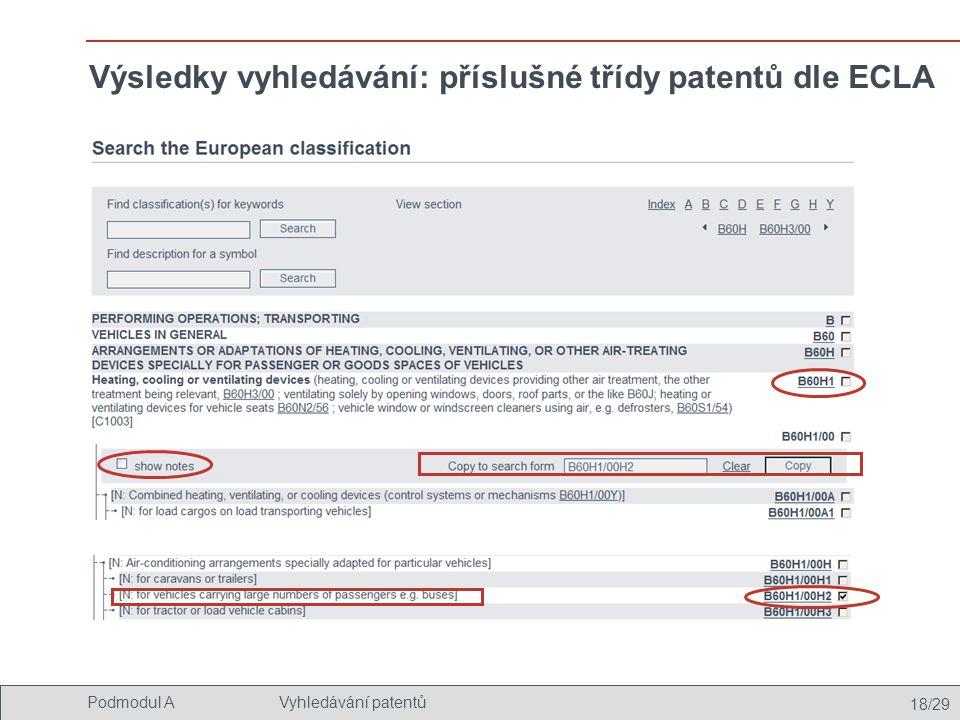 Výsledky vyhledávání: příslušné třídy patentů dle ECLA