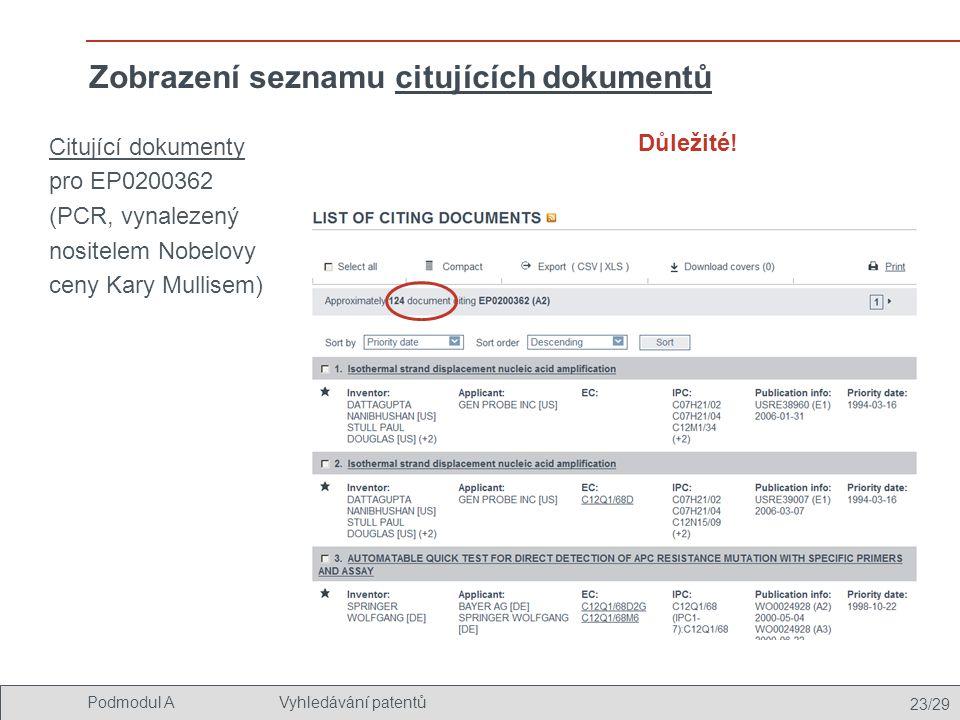 Zobrazení seznamu citujících dokumentů
