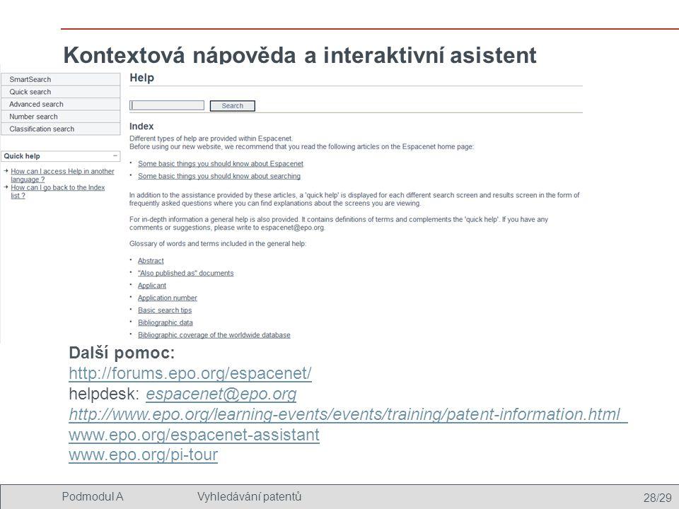 Kontextová nápověda a interaktivní asistent