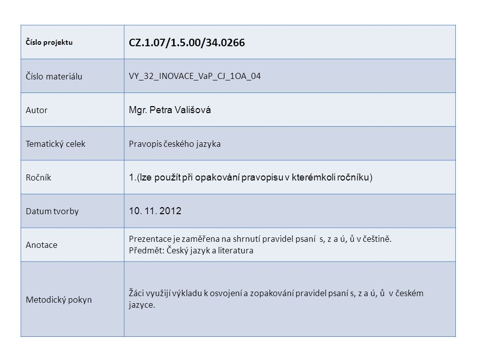 CZ.1.07/1.5.00/34.0266 Číslo materiálu VY_32_INOVACE_VaP_CJ_1OA_04