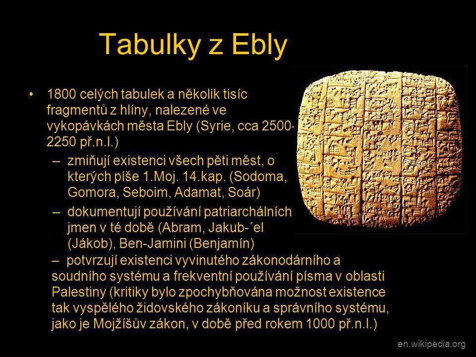 Tabulky z Ebly 1800 celých tabulek a několik tisíc fragmentů z hlíny, nalezené ve vykopávkách města Ebly (Syrie, cca 2500-2250 př.n.l.)