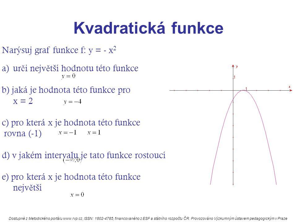 Kvadratická funkce Narýsuj graf funkce f: y = - x2