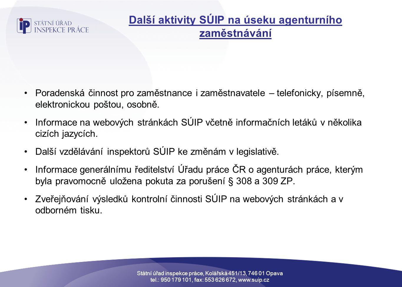 Další aktivity SÚIP na úseku agenturního zaměstnávání