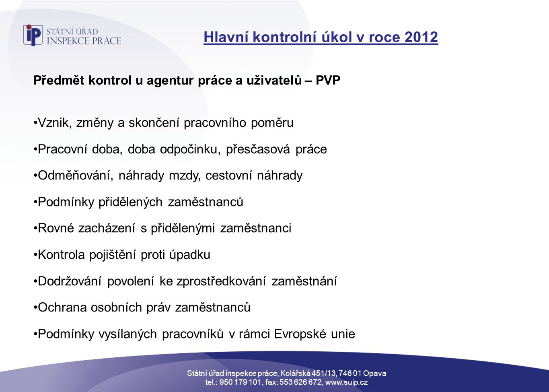 Hlavní kontrolní úkol v roce 2012