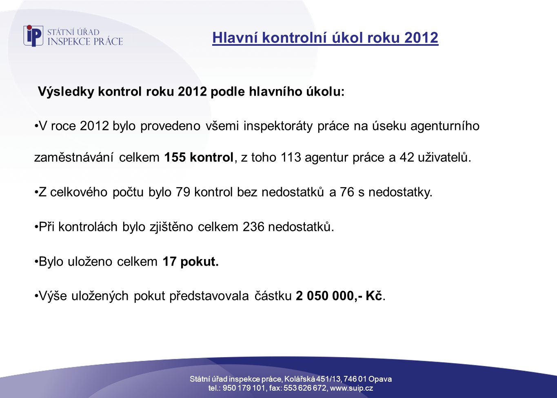 Hlavní kontrolní úkol roku 2012