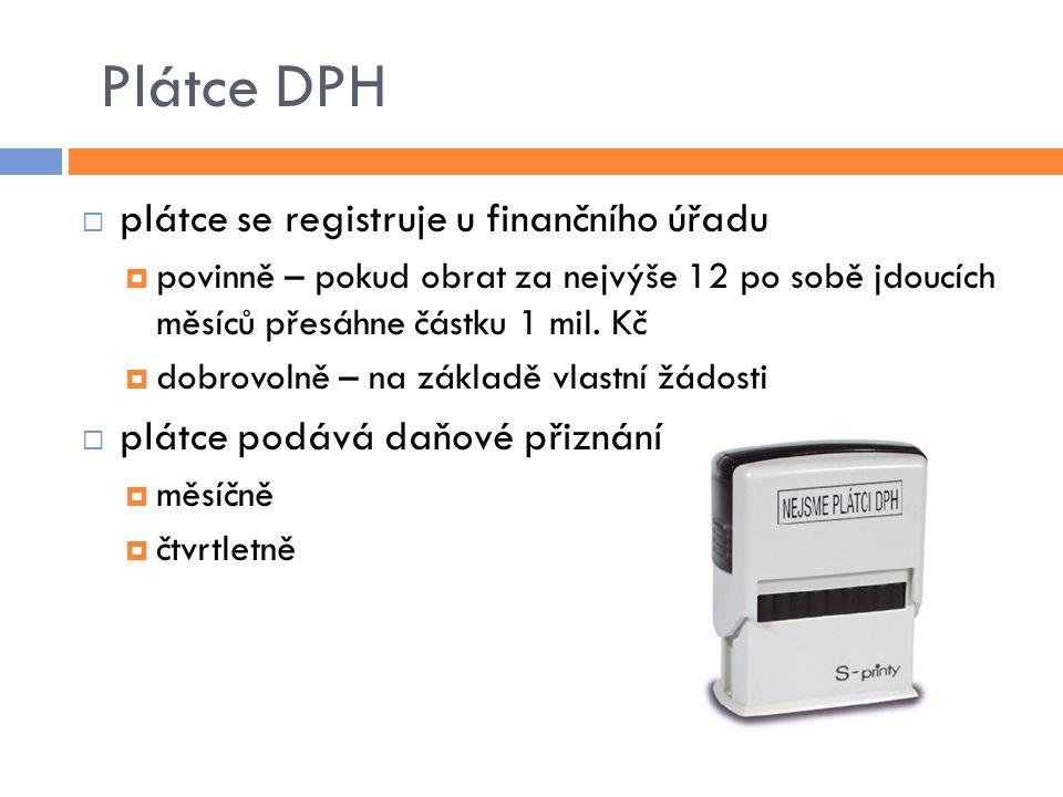 Plátce DPH plátce se registruje u finančního úřadu