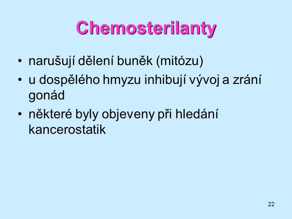 Chemosterilanty narušují dělení buněk (mitózu)