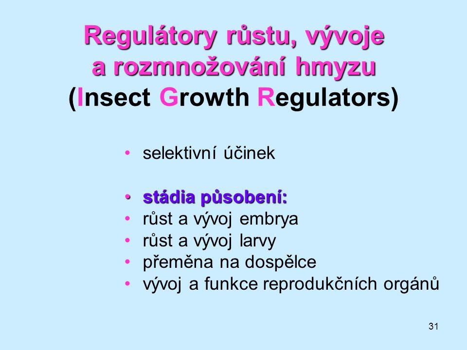 Regulátory růstu, vývoje a rozmnožování hmyzu (Insect Growth Regulators)