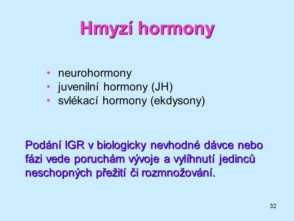 Hmyzí hormony neurohormony juvenilní hormony (JH)