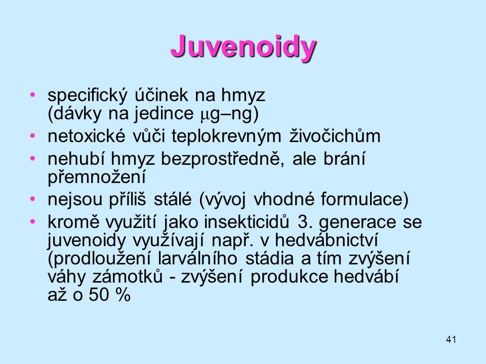 Juvenoidy specifický účinek na hmyz (dávky na jedince μg–ng)