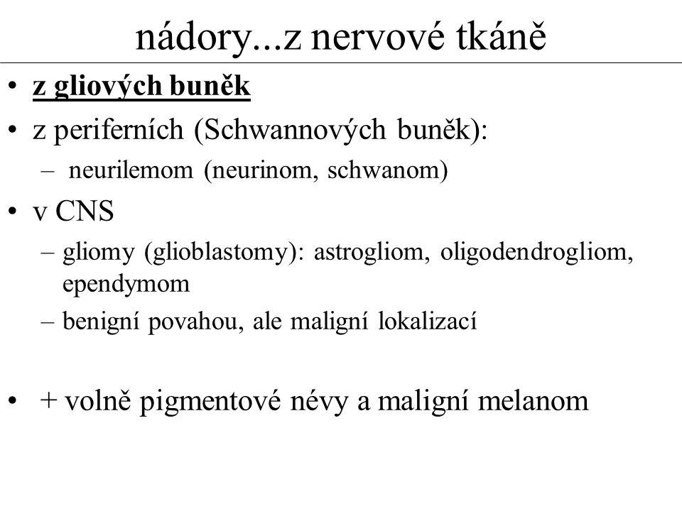 nádory...z nervové tkáně z gliových buněk