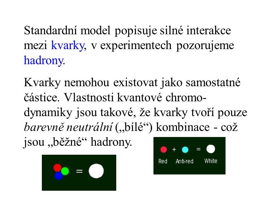 Standardní model popisuje silné interakce mezi kvarky, v experimentech pozorujeme hadrony.