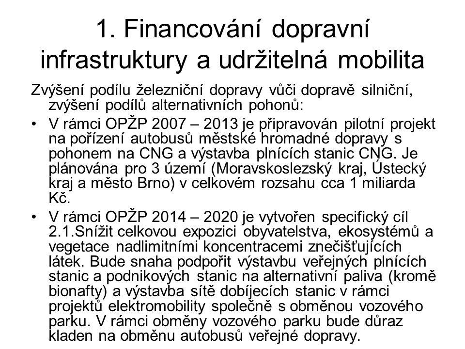 1. Financování dopravní infrastruktury a udržitelná mobilita