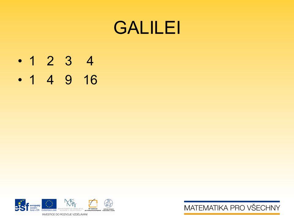 GALILEI 1 2 3 4 1 4 9 16