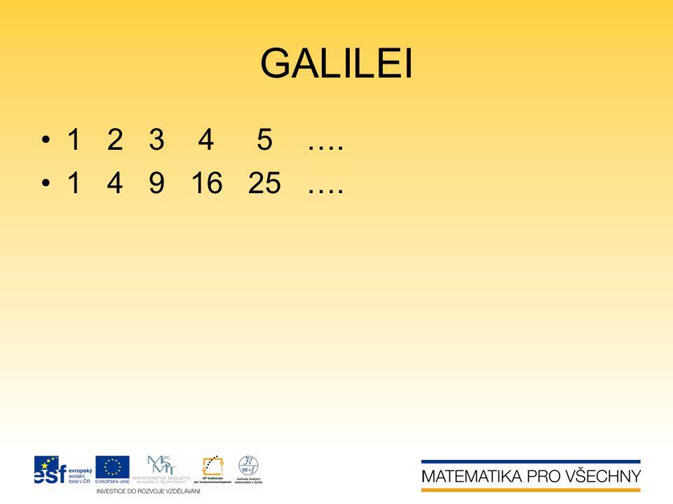 GALILEI 1 2 3 4 5 …. 1 4 9 16 25 ….