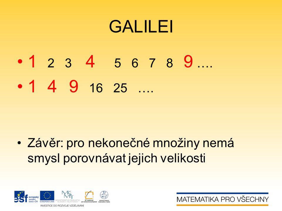 GALILEI 1 2 3 4 5 6 7 8 9 …. 1 4 9 16 25 ….
