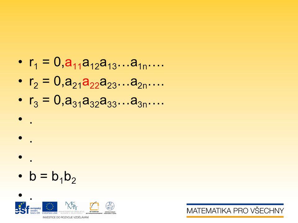 r1 = 0,a11a12a13…a1n…. r2 = 0,a21a22a23…a2n…. r3 = 0,a31a32a33…a3n…. . b = b1b2