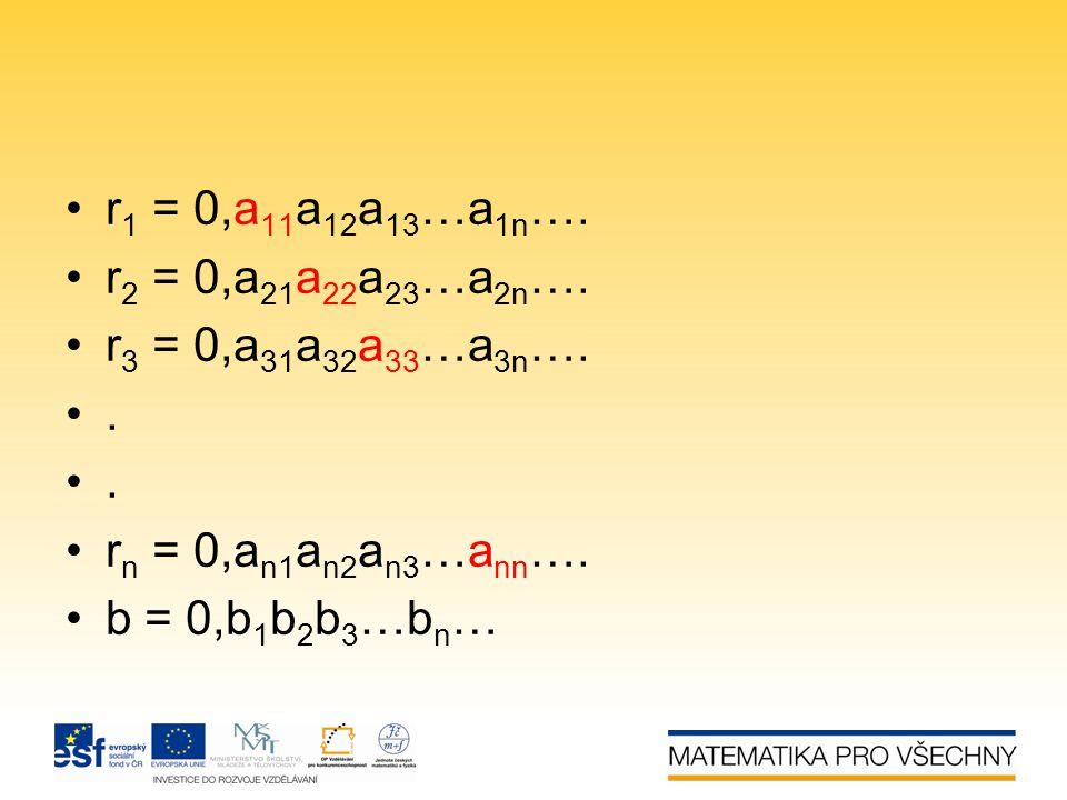 r1 = 0,a11a12a13…a1n…. r2 = 0,a21a22a23…a2n…. r3 = 0,a31a32a33…a3n….