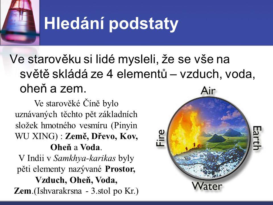 Hledání podstaty Ve starověku si lidé mysleli, že se vše na světě skládá ze 4 elementů – vzduch, voda, oheň a zem.