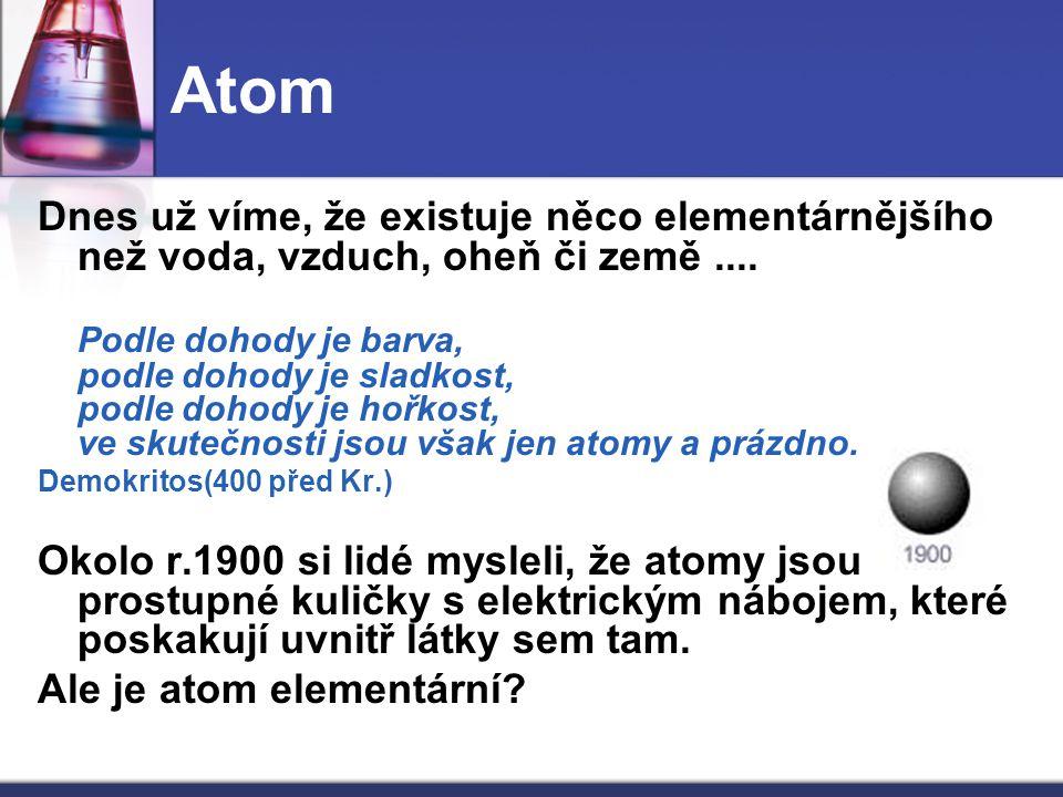 Atom Dnes už víme, že existuje něco elementárnějšího než voda, vzduch, oheň či země ....