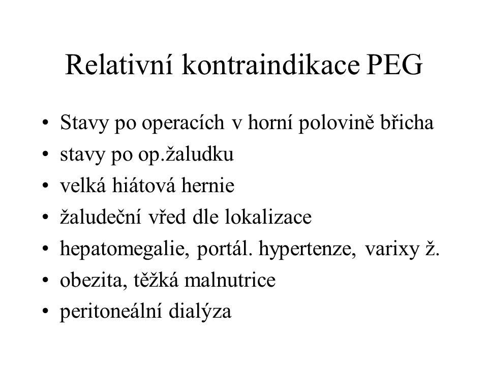 Relativní kontraindikace PEG