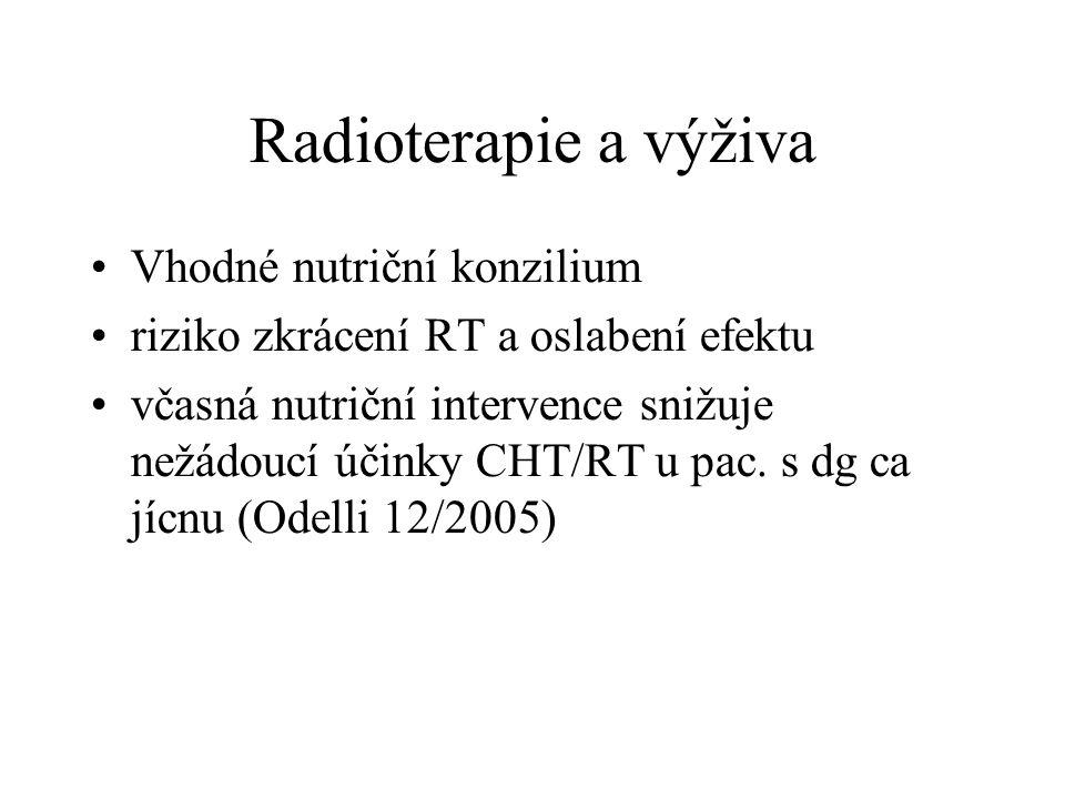 Radioterapie a výživa Vhodné nutriční konzilium