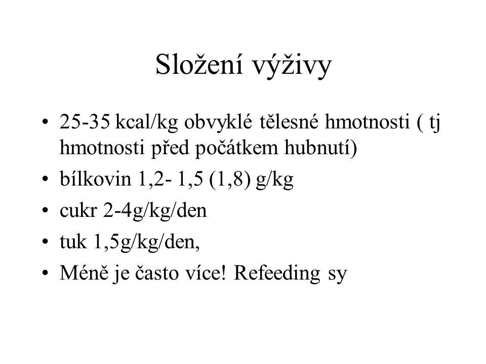 Složení výživy 25-35 kcal/kg obvyklé tělesné hmotnosti ( tj hmotnosti před počátkem hubnutí) bílkovin 1,2- 1,5 (1,8) g/kg.