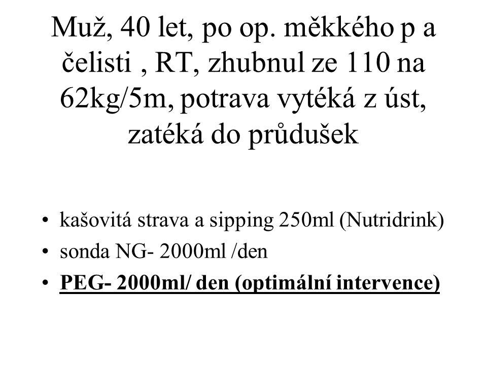 Muž, 40 let, po op. měkkého p a čelisti , RT, zhubnul ze 110 na 62kg/5m, potrava vytéká z úst, zatéká do průdušek