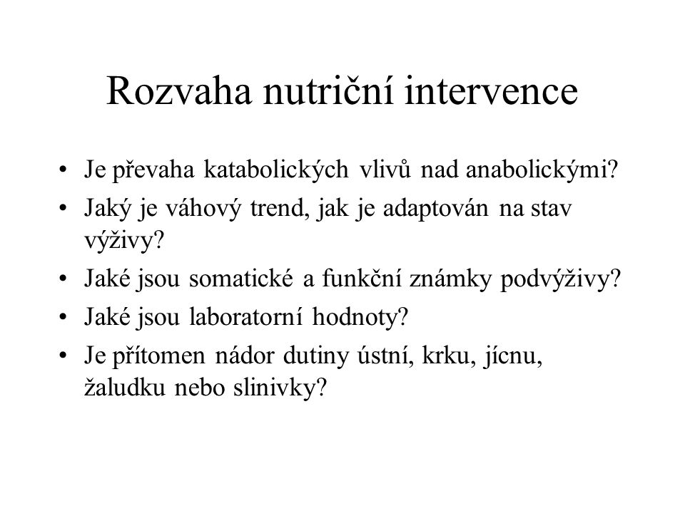 Rozvaha nutriční intervence