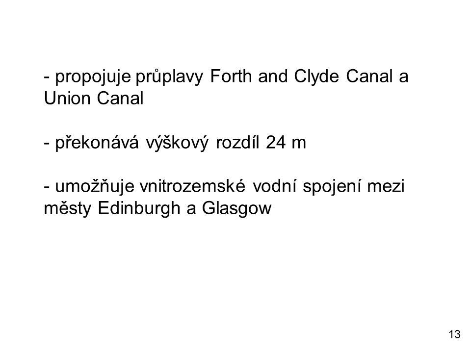 - propojuje průplavy Forth and Clyde Canal a Union Canal - překonává výškový rozdíl 24 m - umožňuje vnitrozemské vodní spojení mezi městy Edinburgh a Glasgow