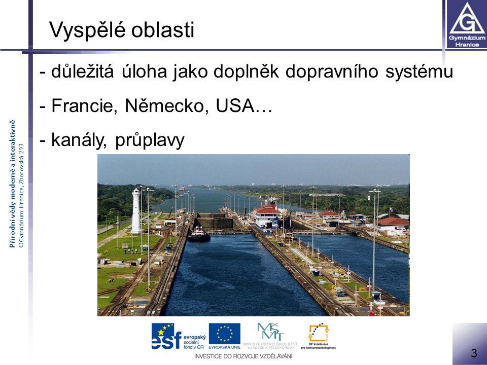 Vyspělé oblasti - důležitá úloha jako doplněk dopravního systému