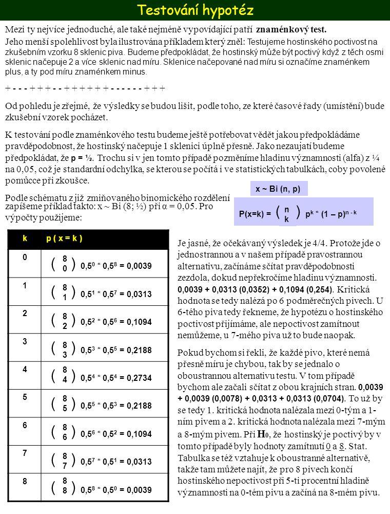 Testování hypotéz Mezi ty nejvíce jednoduché, ale také nejméně vypovídající patří. znaménkový test.