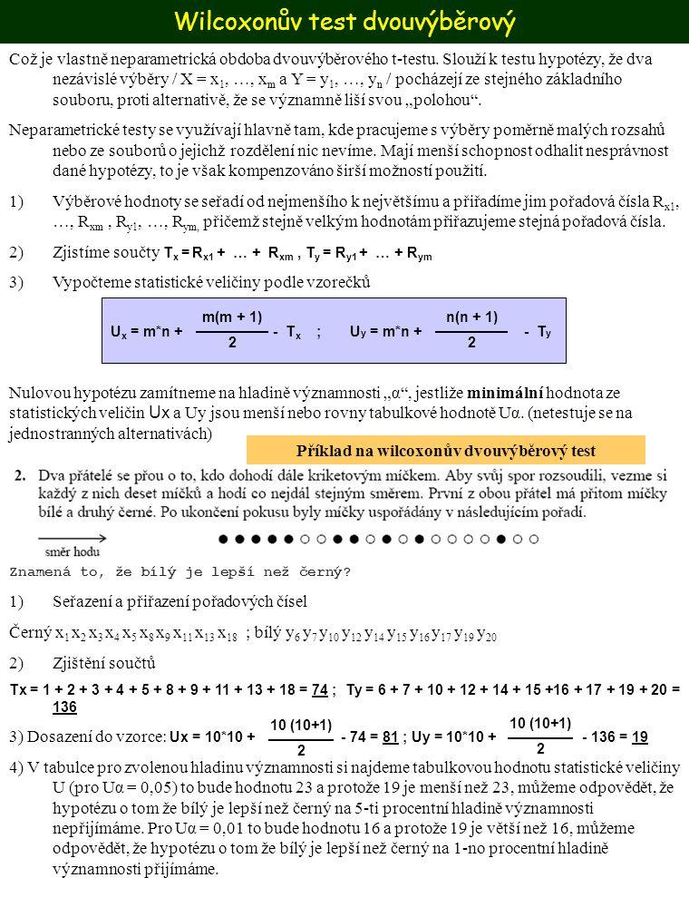 Wilcoxonův test dvouvýběrový