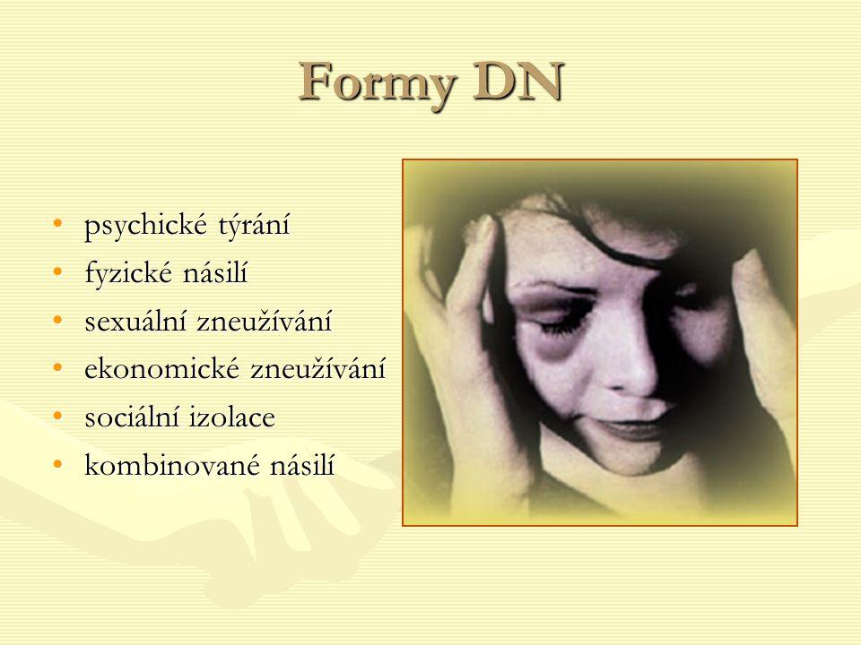Formy DN psychické týrání fyzické násilí sexuální zneužívání