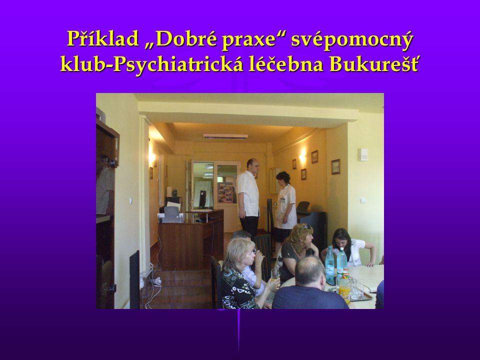 """Příklad """"Dobré praxe svépomocný klub-Psychiatrická léčebna Bukurešť"""