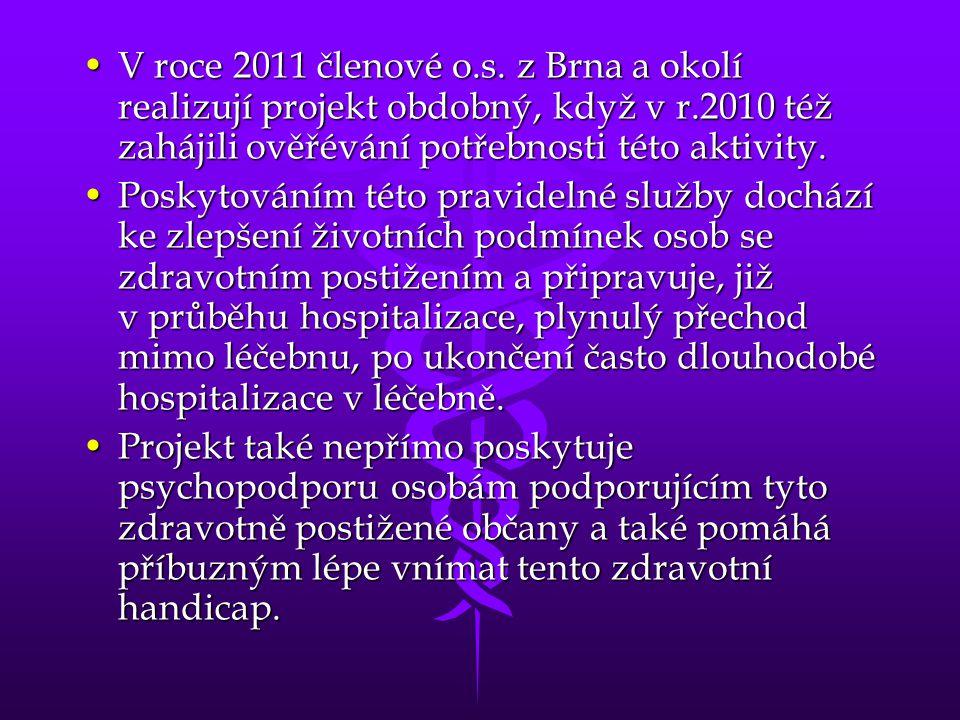 V roce 2011 členové o.s. z Brna a okolí realizují projekt obdobný, když v r.2010 též zahájili ověřévání potřebnosti této aktivity.