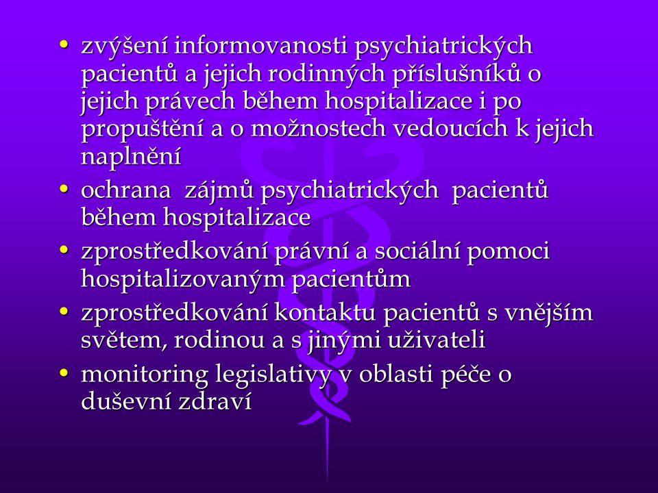 zvýšení informovanosti psychiatrických pacientů a jejich rodinných příslušníků o jejich právech během hospitalizace i po propuštění a o možnostech vedoucích k jejich naplnění
