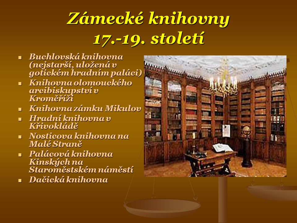 Zámecké knihovny 17.-19. století