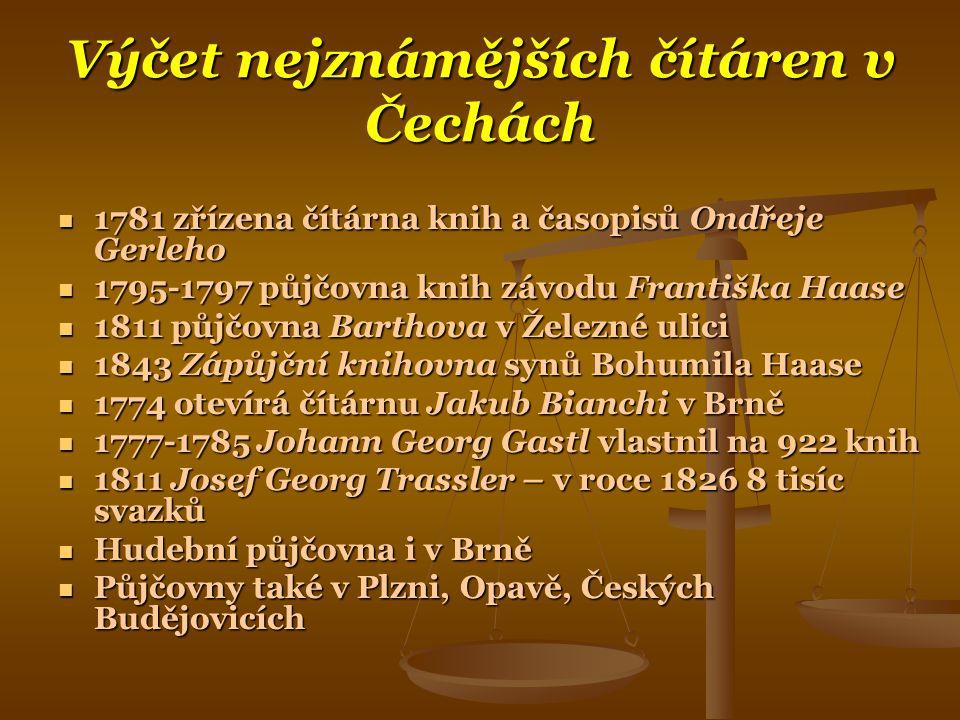 Výčet nejznámějších čítáren v Čechách