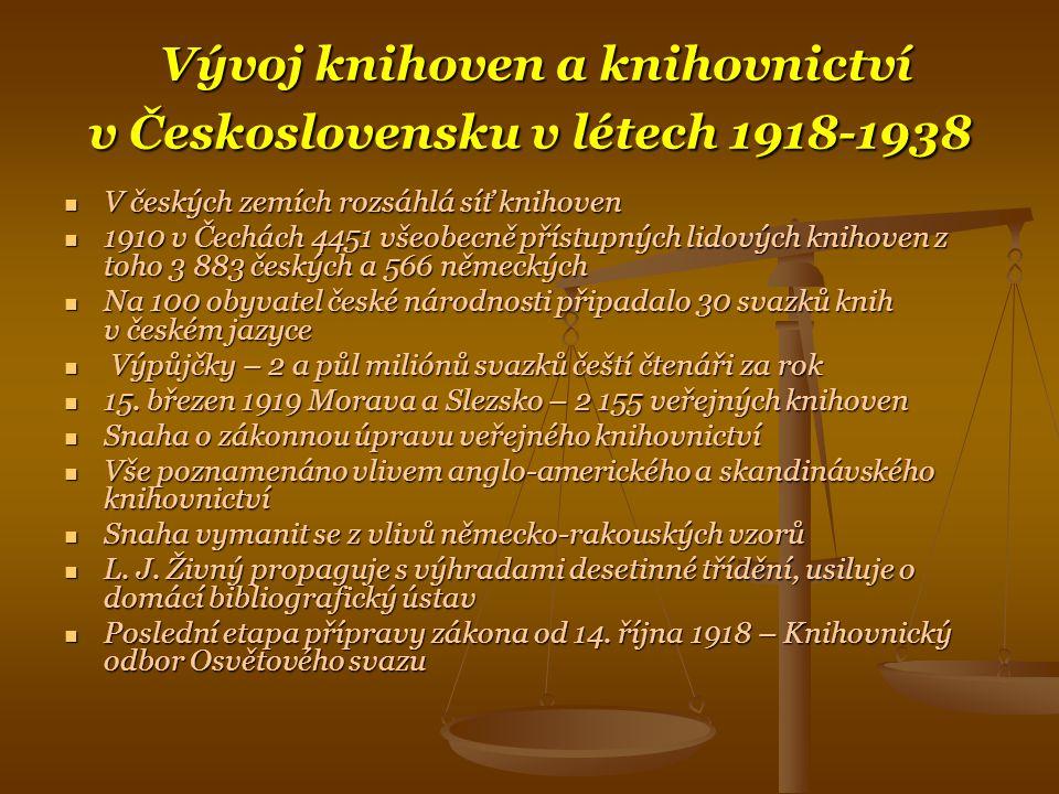 Vývoj knihoven a knihovnictví v Československu v létech 1918-1938
